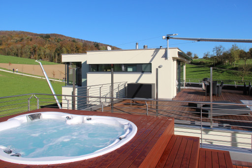 Terrassenhäuser Oftringen Westfassade mit Pool