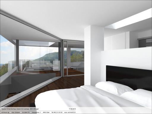 Einfamilienhaus Schwarzhaar Oftringen Visualisierung Schlafen