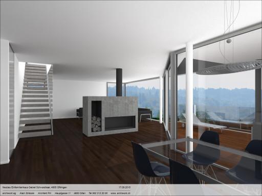 Einfamilienhaus Schwarzhaar Oftringen Visualisierung Wohnen